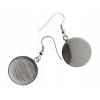 Bezel Handmade Earring Round 19x2mm Silver Plated Matte